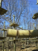 """These barrels call out for exploration to the five-to-10 year old as part of the climbing experience at the new """"Labyrinth"""" at The Adventure Park at Sandy Spring, Maryland."""
