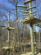 """The five-to-10 year old climbing here in the exciting new """"Labyrinth"""" is clipped on to a safety cable throughout their climbing time."""