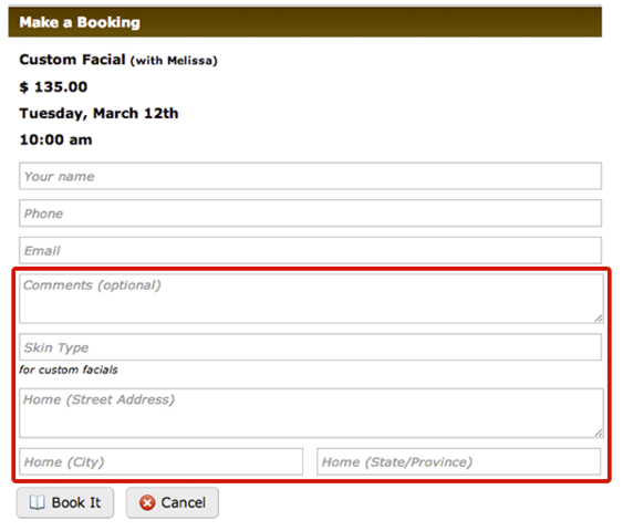 New custom fields let you collect client addresses, special notes and other important client information.