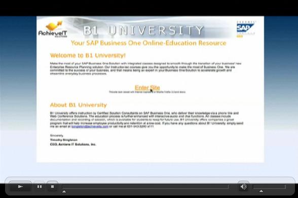 View a demo of B1 University at www.b1university.com/demo/B1_University_Demo.html