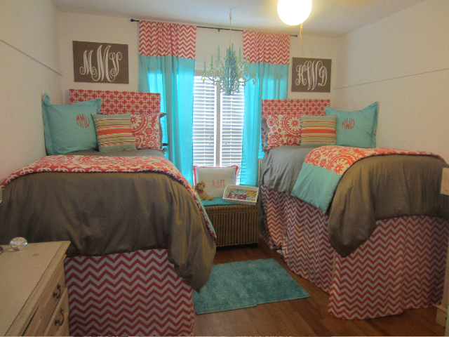 Tiffany Blue and Coral Custom Dorm Room Bedding