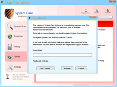 At the end of its fake system scan, System Care Antivirus will lure PC users to register its fake app.