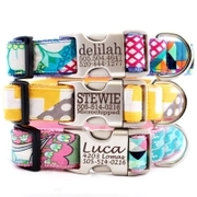 Custom engraved dog collars from Mimi Green's spring 2013 collection.