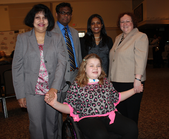 Christeen Seevaratnam & Jude Aloysius, Co-Chairs, Tamil Canadian Walk; Emma, Holland Bloorview Ambassador; Dr. P. Jeganathan, Canadian Tamil Congress; Tracey Bailey, CEO, Holland Bloorview Foundation
