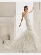 Organza Satin Sweep Train Sweetheart Mermaid Wedding Dress