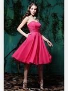 Criss-cross A-line Sweetheart Tea-length Chiffon Bridesmaid Dress