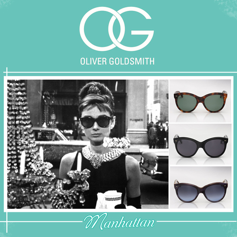 Oliver Goldsmith Manhattan sunglasses as worn by Audrey Hepburn in Breakfast at Tiffany's