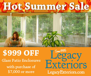 Save $999 off patio covers, patio glass enclosures and screened–in porches