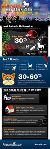 July 4th Lost Pet Info graphic from PetAmberAlert.com
