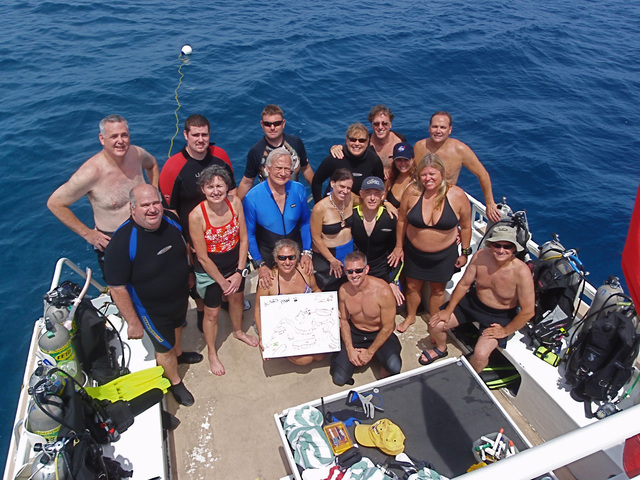 Apollo 11 Astronaut Buzz Aldrin with the staff of Divetech Grand Cayman