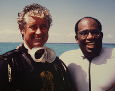 "NBC weatherman Al Roker with Red Sail Sports divemaster Pat Kenney, the original ""Stingray Man"" one of the founders of Cayman's famous Stingray City."