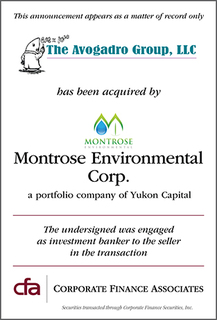 CFA Announces Acquisition of Avogadro Group LLC by Yukon Capital's Montrose Environmental Corp.