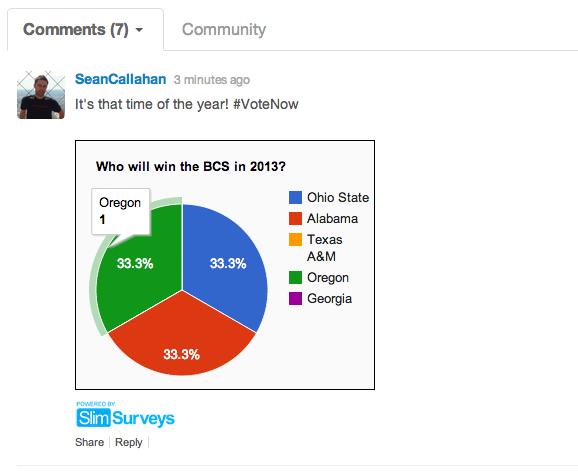 Results in comment stream via developer API