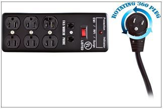 Surge Protector, Flat Rotating Plug, 6 Outlet, Black, Metal, Commercial Grade, 1 X3 MOV, EMI & RFI, Modem Protector, Power Cord 25 foot