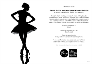 From Fifth Avenue to Fifth Position: Ballet in Cleveland and Saks Fifth Avenue Merge High Fashion and The New York City …
