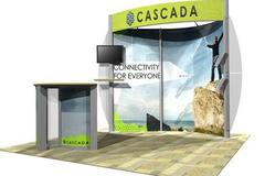 Eco Systems 10' trade show booth that can expand in to the 20' trade show display shown earlier.