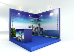 Triga 10' corner trade show display from Trade Show Emporium. Tension fabric graphics and very simple set up make this display a popular item.