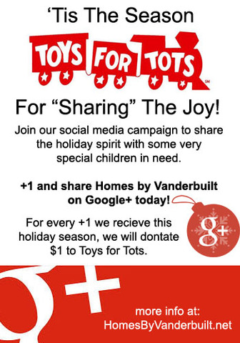 Homes by Vanderbuilt Toys for Tots Drive