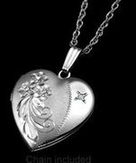 Sterling Silver & Diamond Heart 2 Photo Locket 3/4 Inch with 18 Inch Rope Chain - Item MLSS2015