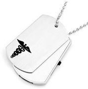 2GB - 8GB USB Stainless 1 1/8 x 2 Inch Medical Double Dog Tags with 30 Inch Chain - Item AA1601C