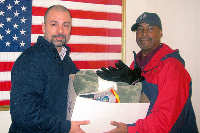 Brimar's Director of Sales & Marketing -- an American Legion member -- delivers the donation to VA Hospital in Lyon, NJ.