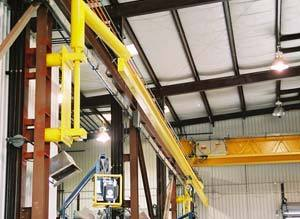 Fall Protection System in retracted position when overhead crane is in use