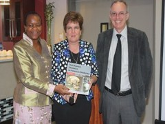 From left to right: Deputy Minister of Health, Dr Gwen Ramokgopa; Prof Maryna Steyn, and the Dean of Faculty of Health Science, Prof Eric Buch.