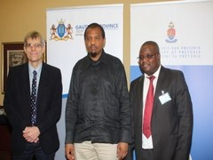 From left to right are: Dr Ernst Muller, Head of UP's Department of Paediatric Surgery; Gauteng MEC for Health, Mr Hope Papo; and the Chief Executive Officer of Kalafong Hospital, Mr Mogale Mothoagae