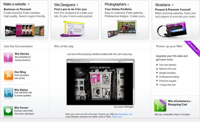 Wix.com New Homepage
