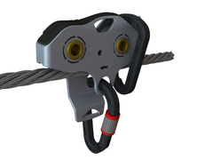 Falcon Mini™ with no handles, mounted on cable. (Can also be used with handles.) Photo: Ropes Park Equipment
