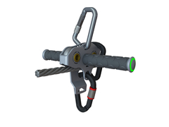Falcon Mini™ mounted on cable with handles. (Can also be used without handles) Photo: Ropes Park Equipment