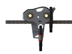 Falcon Mini™ side view, mounted on cable with carabiners attached. Photo: Ropes Park Equipment