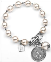 S Initial - Silver Plated Coin & Cotton Pearl 7 1/4 Inch Bracelet by John Wind - Item JW1069