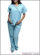 AQUA CARRIBEAN MEDICAL SCRUBS UNIFORM TOP AND MATCHING BOTTOMS/1-1-1-1