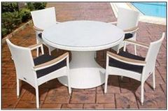 """48"""" Wicker White Dining Table and Wicker Stacking Chair Set"""