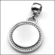 Bordered Stainless Steel 7/8 Inch Round Charm or Pendant on Large Bale