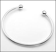 Sterling Silver 3mm Cuff Bracelet for Beads and Charms