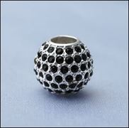 Mix & Match Sterling Silver Spherical Bead Charm with Black Crystals