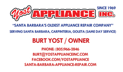 Yost Appliance, Inc. offers same day service on all major appliances from refrigerators, freezers, washers, dryers, ranges, ovens, dishwashers and garbage disposals.