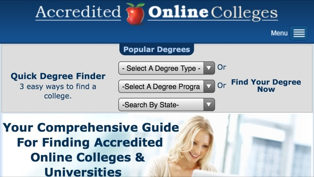 Visitors can now easily search for degrees and accredited schools and have the results populate quickly on their mobile device.