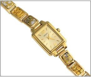 Natural Gold Quartz And Nugget Link Ladies Watch