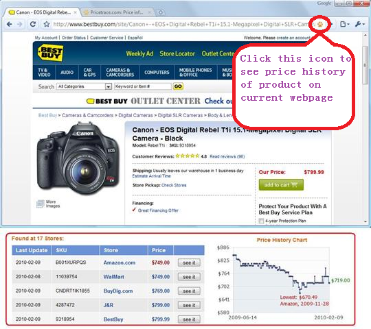 With the PriceTrace addon installed on Chrome browser, Product Price Comparison and Price History can now be seen in 1-Click