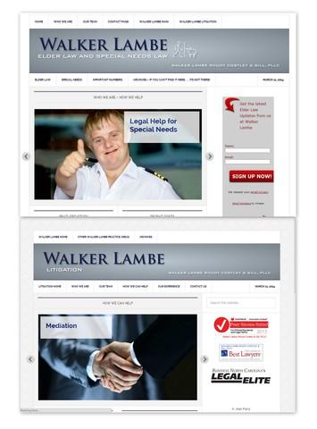 Snapshots of both new webpages www.walkerlambeelderlaw.com and www.walkerlambelitigation.com
