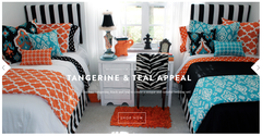 Tangerine and Teal Appeal Designer Bed in a Bag Set <br />