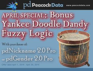 Peacock Data offers bonus fuzzy logic in April special