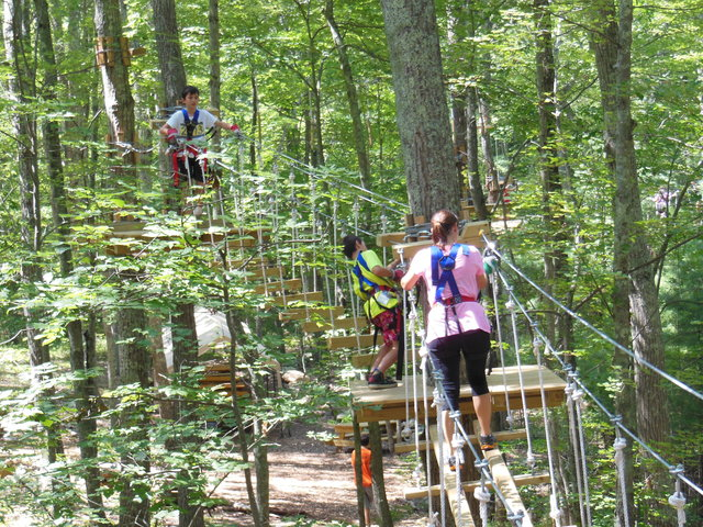 "Climbers navigate the ""treetop trails"" of The Adventure Park at Storrs. (photo: Anthony Wellman)"