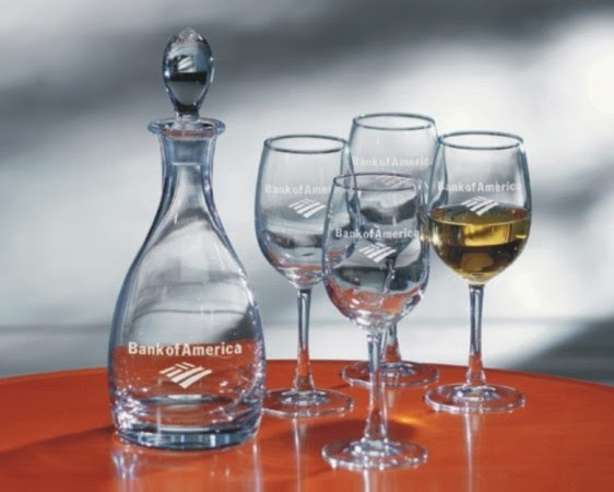 Handblown non-lead crystal decanter and machine-made wine glasses engraved with your logo, personalized text or custom logo.