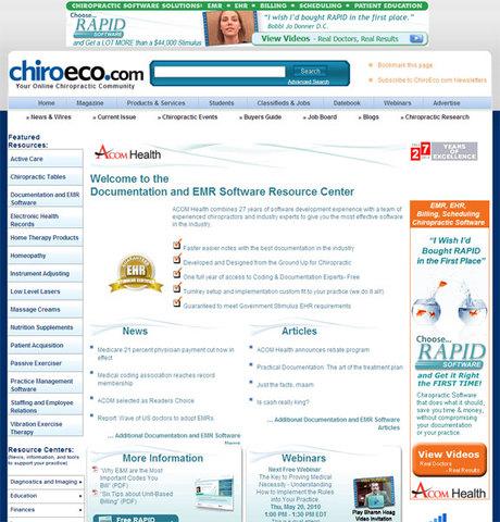 ACOM Health Sponsors Resource Center at ChiroEco.com