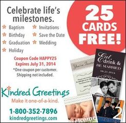 Enjoy 25 Photo Cards FREE from Kindred Greetings