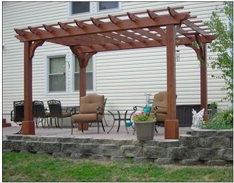 12' x 16' Cedar Arched Pergola shown